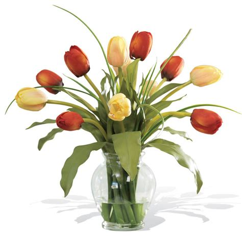 mixed tulip silk flower arrangement contemporary