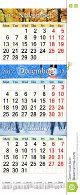 Calendario 2018 Novembre Calendario Triplo Per Novembre Dicembre 2017 E Gennaio