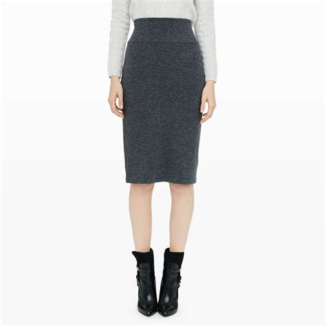 club monaco loraie knit pencil skirt in gray lyst