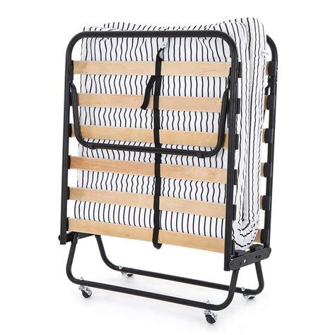 folding single bed frame black ikayaa metal wood rollaway single folding bed frame with mattress lovdock