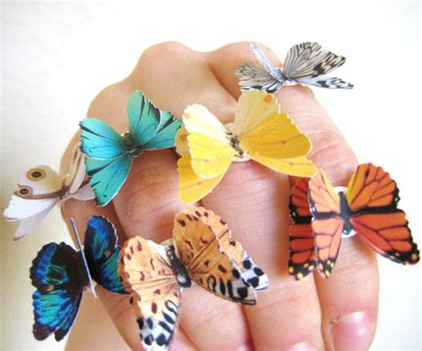 How To Make A 3d Paper Butterfly - 3d origami accessories paper butterfly ring