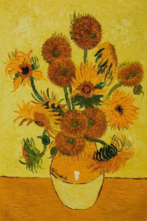 Vase With Fifteen Sunflowers by Vase With Fifteen Sunflowers By Gogh Painted
