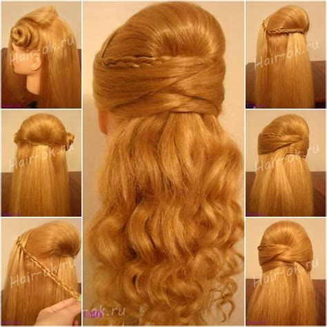 diy hairstyles half up diy half up half down hairstyle for face slimming fab