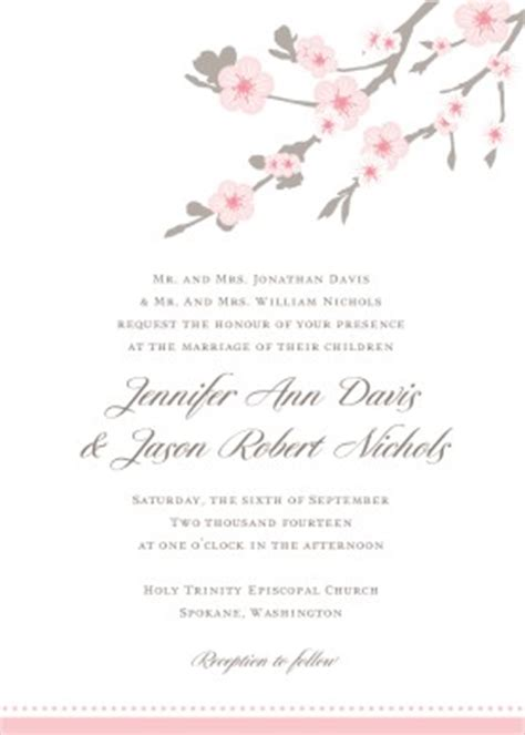 Printable Cherry Blossom Wedding Invitation Template Cherry Blossom Invitation Template