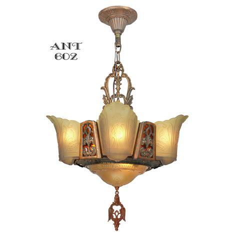 Art Deco Chandelier 6 Light Ceiling Fixture Amber Color Deco Lighting Fixtures Chandeliers