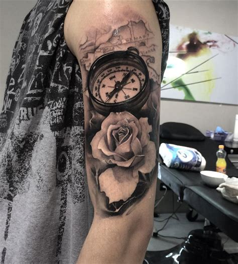 rose compass tattoo designs compass map realism arm best ideas
