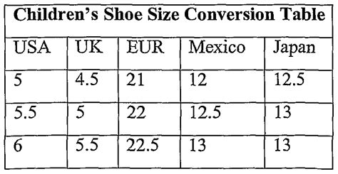 shoe size chart in mexico toddler shoe size conversion chart mexico boys shoe size
