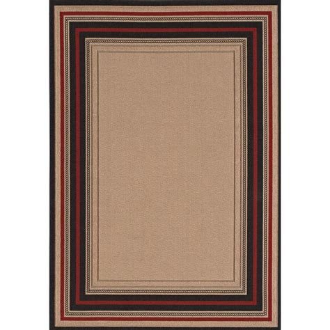 Hton Bay Outdoor Rugs Hton Bay Loop Border Chili And Brown 8 Ft X 10 Ft Indoor Outdoor Area Rug