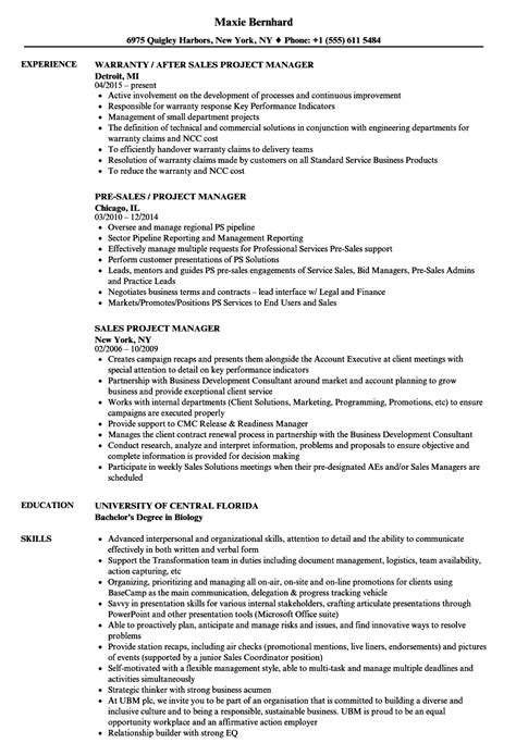 sle of project manager resume sales project manager resume sles velvet