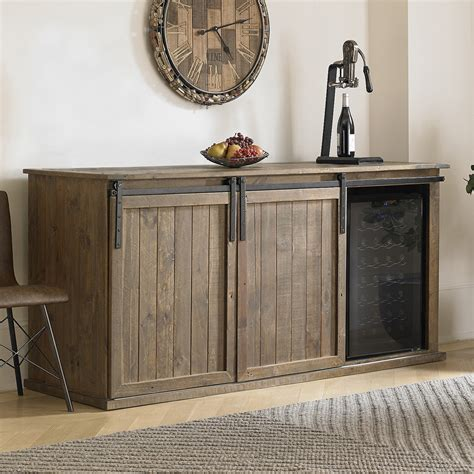 credenza with doors mesa sliding barn door credenza with wine refrigerator