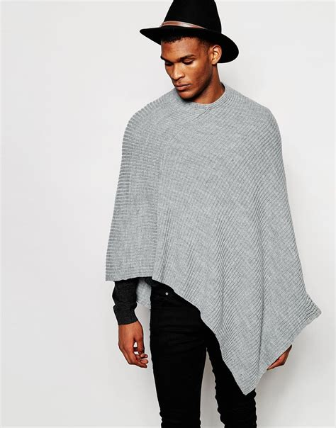 mens poncho knitting pattern asos knitted ribbed poncho in gray for lyst