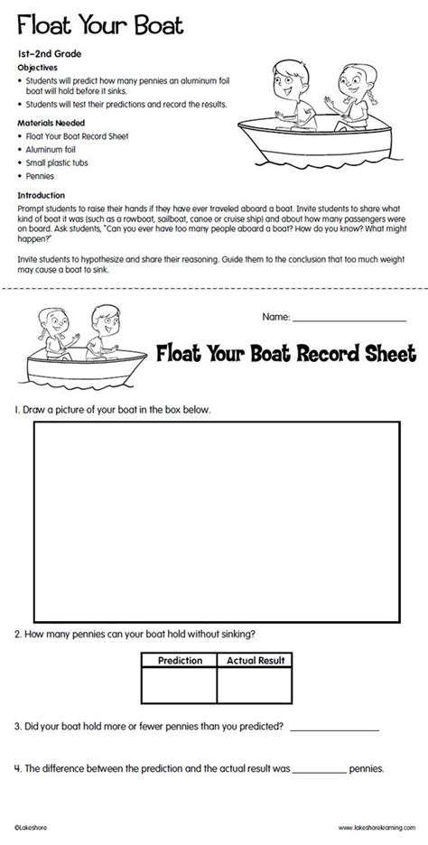 boat safety float plan water buyoancy experiment with free printable record sheet