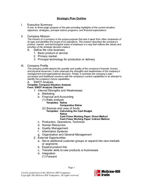 how to write a strategic plan template 8 strategic plan outline