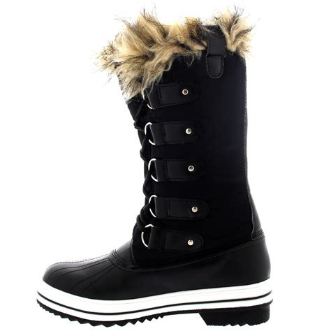 snow boots with fur womens fur cuff lace up rubber sole winter snow
