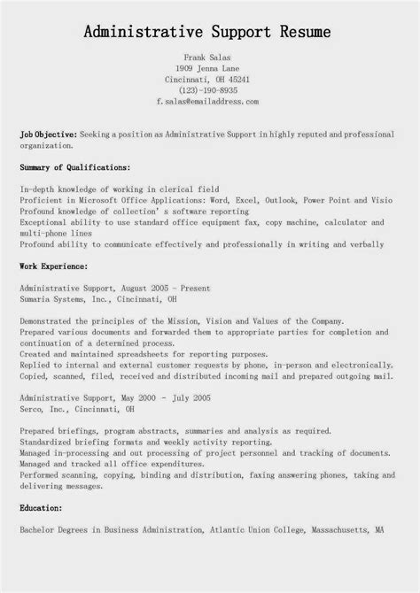 resume sles administrative support resume sle