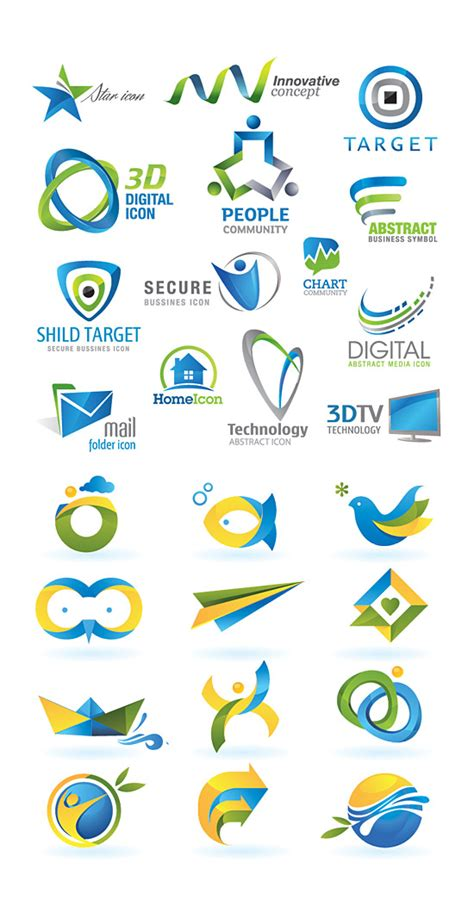 3d colorful logo free vector graphic download