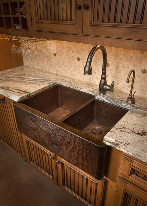Farmhouse duet antique copper kitchen sink by native trails traditional kitchen sinks