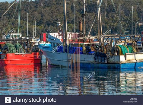 fishing at boat harbour nsw fishing boat harbour at eden nsw australia stock photo