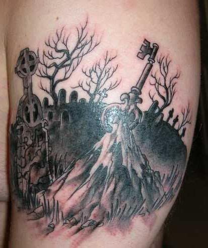 cemetery tattoos cemetery designs weeping back