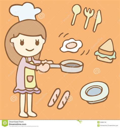 Making Credit Cards - menina bonito que cozinha desenhos animados do caf 233 da manh 227 foto de stock imagem 30880740