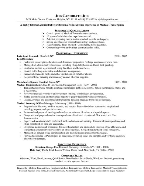 Cover Letter Resume Transcriptionist by Transcriptionist Resume Resume Ideas