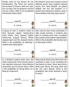 probability word unit 8 math center literacy worksheets