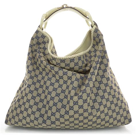 Gucci Chain Large Hobo by Gucci Monogram Large Horsebit Chain Hobo Navy 34861