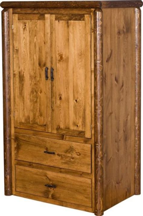 Armoire With Hanging Bar Mountain Lodge Armoire With 2 Drawers And Hanging Bar