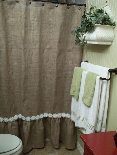 ruffle shower curtain etsy ruffled bottom burlap shower curtain with white shabby