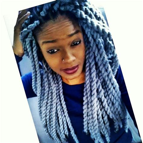grey braids grey yarn twist should i try this hairstyles