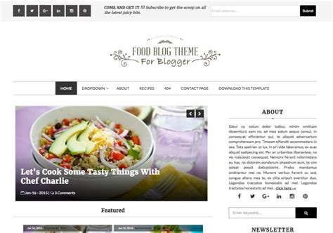 layout blog template food blog blogger template blogspot templates 2018