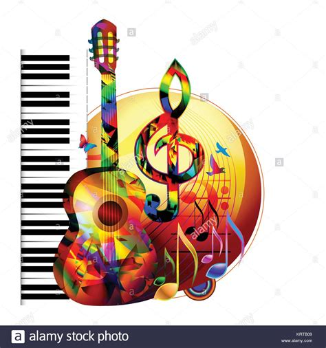 colorful  background  guitar piano keyboard birds  stock vector art illustration