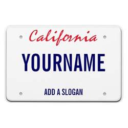 california license plate personalized rectangular photo
