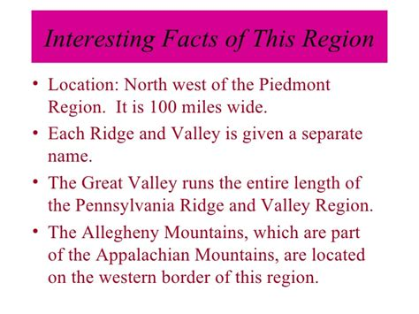 valley fact a regions of pennsylvania