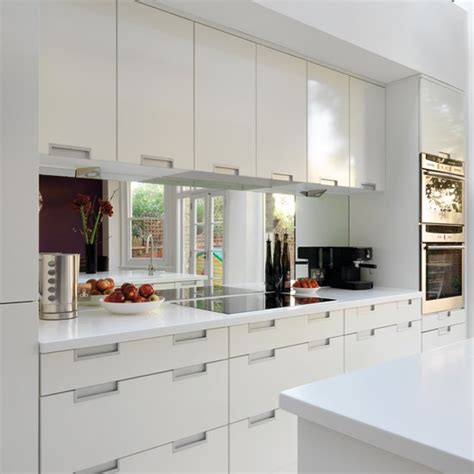 kitchen splashback ideas uk real homes modern white kitchen mirror splashback splashback and kitchens
