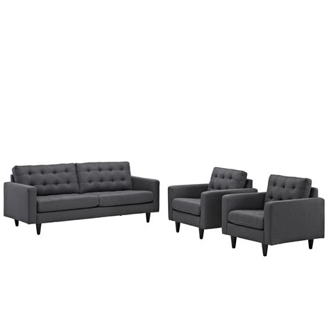 tufted leather sofa set empress modern 3pc button tufted leather sofa and armchair