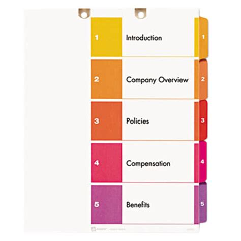 Avery 13156 Ready Index 5 Tab Multi Color Customizable Table Of Contents Dividers Avery Ready Index Template