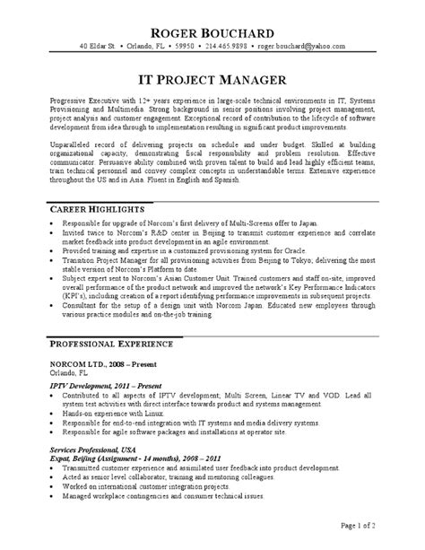project manager resume sample amp writing guide rg pertaining to
