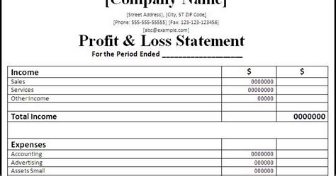 simple profit and loss statement template simple profit and loss statement images
