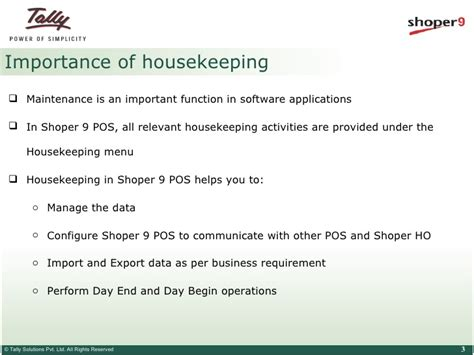 housekeeping tips housekeeping in shoper 9 pos tally tips tally net