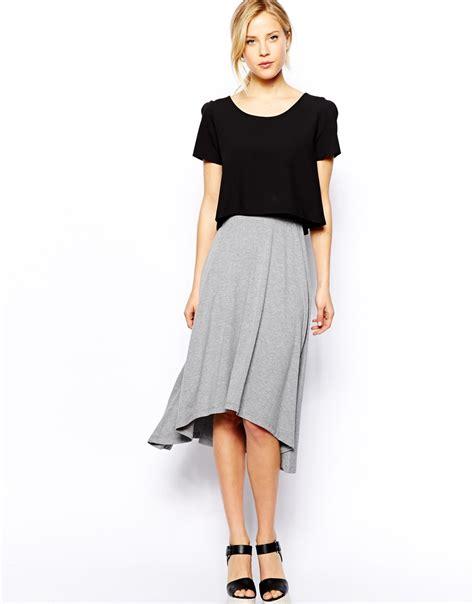 asos midi skirt with high low hem in gray lyst