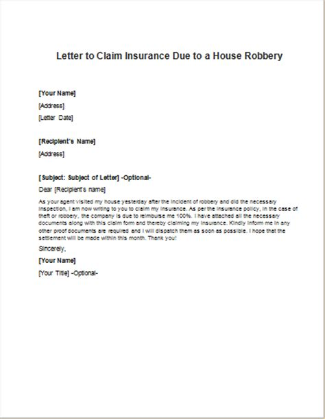 how to claim house insurance letter for personal injury claim writeletter2 com