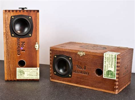 Handmade Audio - custom cedar cigar box powered speakers cool material