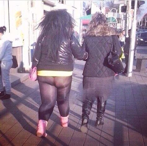 woman with the biggest thing in her vigina god awful see through leggings how did her mom let this