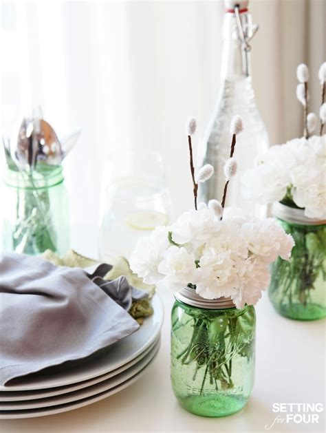 jar centerpieces for and easy jar centerpieces setting for four