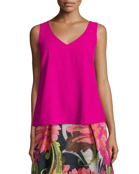 Blouse V Halter Crepe sleeveless v neck crepe blouse in pink lyst