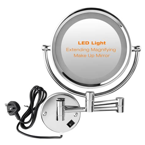 bathroom shaving mirror led lighted wall mounted dual side magnification makeup
