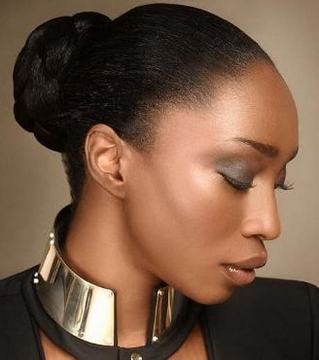 relaxed hair buns bun hairstyles for black women