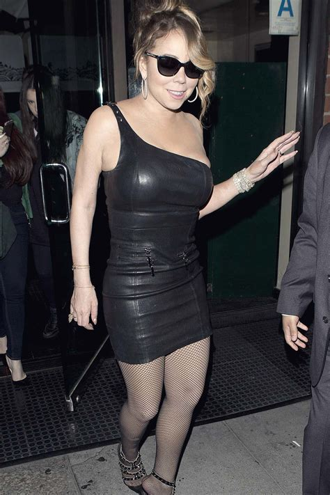 Mariah Carey leaving Mr Chow Restaurant   Leather Celebrities