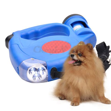 Automatic Retractable Leash With Led Flashlight Tali Anjing 3 in 1 4 5 meters automatic retractable leash with led light flashlight with waste bags pet